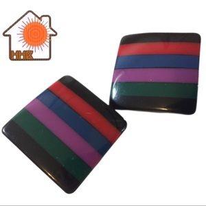VTG 80s Striped Clip-On Earrings